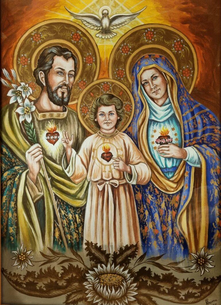 obraz Najświętszego Serca Jezusa, Niepokalanego  Serca Maryi  i Przeczystego Serca św. Józefa